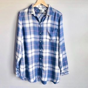New Old Navy Lightweight Soft-Washed Blue White Plaid Button Shirt Blouse Large